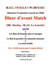 Dimanche 19/09/2021 Dîner d'avant match RRC Stockay - RAAL La Louvière