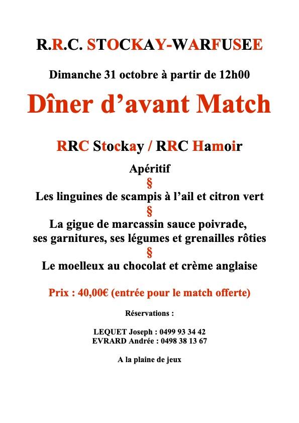 Dimanche 31/10/2021 Dîner d'avant match Stockay Hamoir